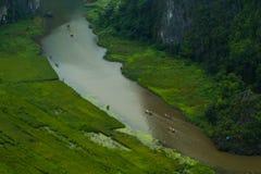 Gelbes Reisfeld auf Ngo Dong-Fluss in Tam Coc Bich Dong von der Gebirgsdraufsicht in Ninh Binh Stockbilder