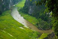 Gelbes Reisfeld auf Ngo Dong-Fluss in Tam Coc Bich Dong von der Gebirgsdraufsicht in Ninh Binh Lizenzfreies Stockbild