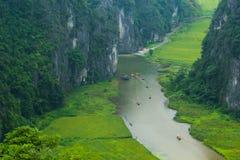 Gelbes Reisfeld auf Ngo Dong-Fluss in Tam Coc Bich Dong von der Gebirgsdraufsicht in Ninh Binh Stockbild