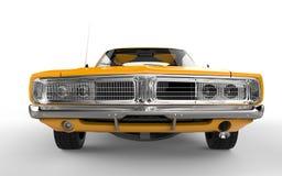 Gelbes Retro- Muskelauto Stockfoto