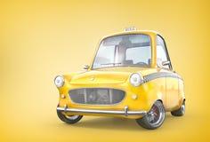 Gelbes Retro- Taxiauto auf einem gelben Hintergrund Abbildung 3D Stock Abbildung
