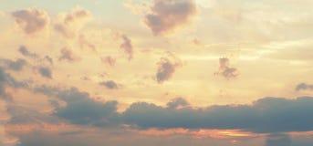 Gelbes Rosa bewölkt Himmelhintergrund Stockbilder