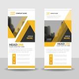 Gelbes schwarzes Dreieck rollen oben Geschäftsbroschürenflieger-Fahnendesign, geometrischen Hintergrund der Abdeckungsdarstellung Stockfotos