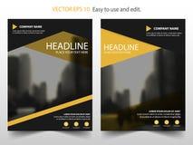 Gelbes schwarzes Vektorjahresbericht Broschüren-Broschüren-Fliegerschablonendesign, Bucheinband-Plandesign, abstrakte Geschäftsda stock abbildung
