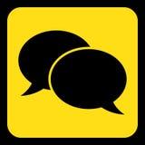 Gelbes, schwarzes Zeichen - Ikone mit zwei Spracheblasen Lizenzfreie Stockbilder