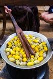 Gelbes Seidenraupenkokonoberteil durch den Silk Weg Stockfoto