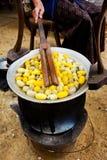 Gelbes Seidenraupenkokonoberteil durch den Silk Weg Stockbilder