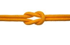 Gelbes Seil mit Riff-Knoten Lizenzfreies Stockbild
