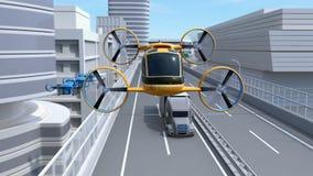 Gelbes Selbst-treibendes Passagier-Brummen-Taxifliegen durch Landstraße vektor abbildung