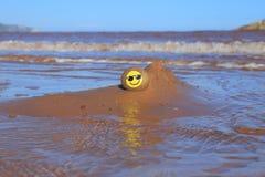 Gelbes smileygesicht gemalt auf dem Stein Lizenzfreies Stockbild