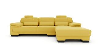 Gelbes Sofa auf weißem Hintergrund Lizenzfreie Stockfotos