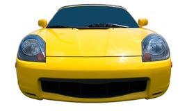 Gelbes Sport-Auto auf weißem Hintergrund stockbild