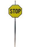 Gelbes Stoppschild, lokalisiert auf Weiß Lizenzfreie Stockbilder