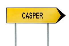 Gelbes Straßenkonzeptzeichen Casper lokalisiert auf Weiß Stockbilder