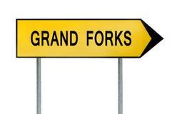 Gelbes Straßenkonzeptzeichen Grand Forks lokalisiert auf Weiß Lizenzfreie Stockfotos