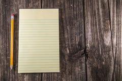 Gelbes Tablet auf Weinlese-Schreibtisch Lizenzfreie Stockfotografie