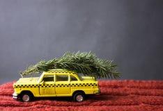 Gelbes Taxi mit einem Baum auf dem Dach Lizenzfreie Stockfotos