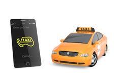 Gelbes Taxi und intelligentes Telefon für mobiles Taxi bestellen Servicekonzept vektor abbildung