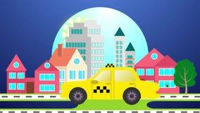 Gelbes Taxiauto auf der Straße in der Stadtlandschaft vektor abbildung