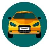 Gelbes Taxiauto in einem grünen Kreis Stockbild