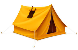 Gelbes touristisches Zelt für Reise und das Kampieren Stockbilder
