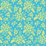 Gelbes tropisches exotisches Laub, Hibiscus-Blumenvektor-nahtloses Muster Üppige tropische Palmblätter lizenzfreie abbildung