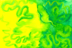 Gelbes und grünes Aquarell Stockfotos