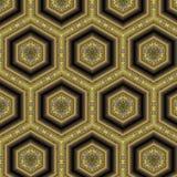 Gelbes und graues sechseckiges Fliese-Muster Lizenzfreie Stockbilder