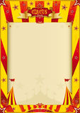 Gelbes und rotes Schmutzzirkusplakat Stockbild
