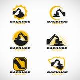 Gelbes und schwarzes Löffelbaggerlogo-Vektorbühnenbild Stockfotos