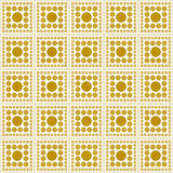 Gelbes und weißes Polka-Dot Square Abstract Design Tile-Muster R Stockfoto