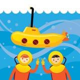 Gelbes Unterseeboot mit dem Kindertauchen Stockfotos