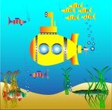 Gelbes Unterseeboot unter Wasser Stockbild