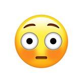 Gelbes verlegenes Gesicht Emoji und spülte rote Backenikone Stockfotos
