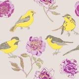 Gelbes Vogel- und Blumenmuster Lizenzfreie Stockfotos