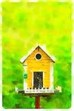 Gelbes Vogelhaus des Watercolour in einem grünen Hintergrund Lizenzfreie Stockfotos