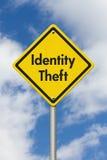Gelbes warnendes Identitäts-Diebstahl-Landstraßen-Verkehrsschild stockbild