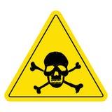 Gelbes Warnschild mit dem Schädel Lizenzfreies Stockfoto