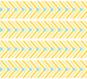 Gelbes Zickzackmuster mit Linien und Kreisen lizenzfreie abbildung