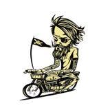 Gelbliche Fahrradreiter-Vektorillustration stock abbildung
