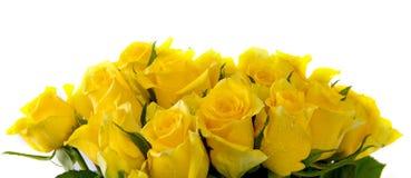 Gelbrosenblumenstrauß lokalisiert stockbild