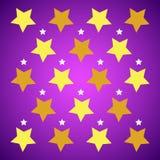 Gelbsterne auf purpurrotem Hintergrund lizenzfreie abbildung