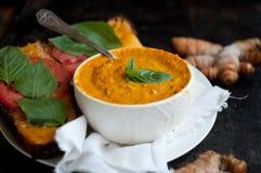 Gelbwurz-Tomaten-Suppe Lizenzfreies Stockbild