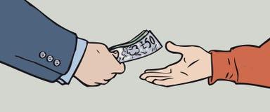 Geldübergabe Stockfoto
