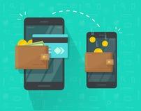 Geldüberweisung über Handyvektorillustration, flache Personenhände über Smartphones mit Bargeldgeldbörsen, Münzen und Lizenzfreies Stockbild