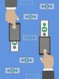 Geldüberweisung im flachen Design Lizenzfreie Stockfotografie