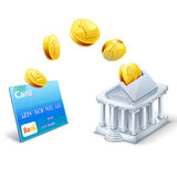 Geldüberweisung zwischen Karte und Bank lizenzfreie abbildung