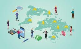 Geldüberweisungskonzept mit den Leuten, die Geld um den Weltbestimmungsort global oder international mit isometrischer 2d Art - V vektor abbildung