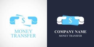 Geldüberweisungsvektorlogo, Ikone Lizenzfreies Stockfoto