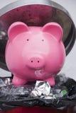 Geld aan afval Royalty-vrije Stock Foto's